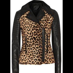 🐆A.L.C. Leopard Calf Hair Lthr Motorcycle Jacket